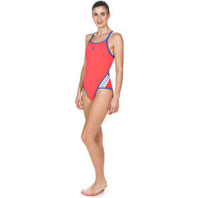arena Team Stripe Super Fly Back One Piece Badeanzug Damen fluo red-royal